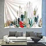 """iLeadon Tapestry Prickly Pear Cactus Tapestries Wall Hanging – Light-weight Polyester Fabric Wall Headboard Decor for bedroom (51""""H x 60""""W, Cactus Landscape)"""