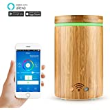 Aroma Essential Oil Diffuser, ALLOMN 160ml Bamboo Smart Wi-Fi Ultrasonic Cool Mist Humidifier, Work with Alexa and APP Remote Control