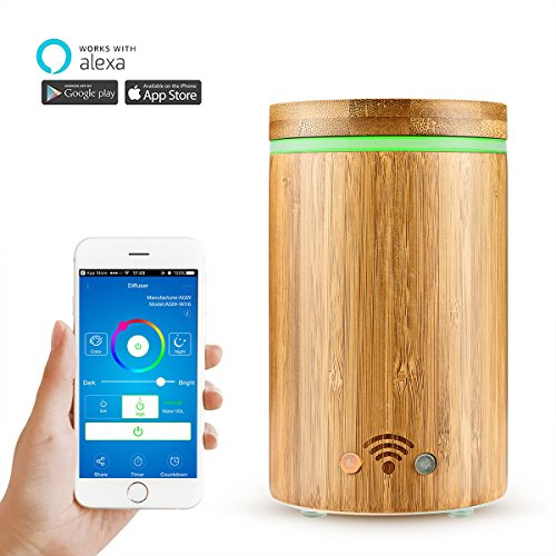 Konesky Bamboo Wi-Fi Smart Essential Oil Diffuser APP Remote Control Voice Control with Alexa Ultrasonic Essential Oil Diffuser Work with Alexa, Colorful LED Light / Waterless / 160 Ml