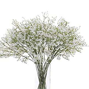 Haisiluo Baby Breath/Gypsophila Artificial Fake Silk Plants Wedding Party Decoration Real Touch Flowers DIY Home Garden(White) 78