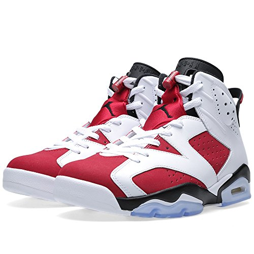 Air Jordan Retro 6 Men's Shoes White/Carmine-Black 384664-160 (8 D(M) US) (Jordan Retro 6 Shoes Size 8)