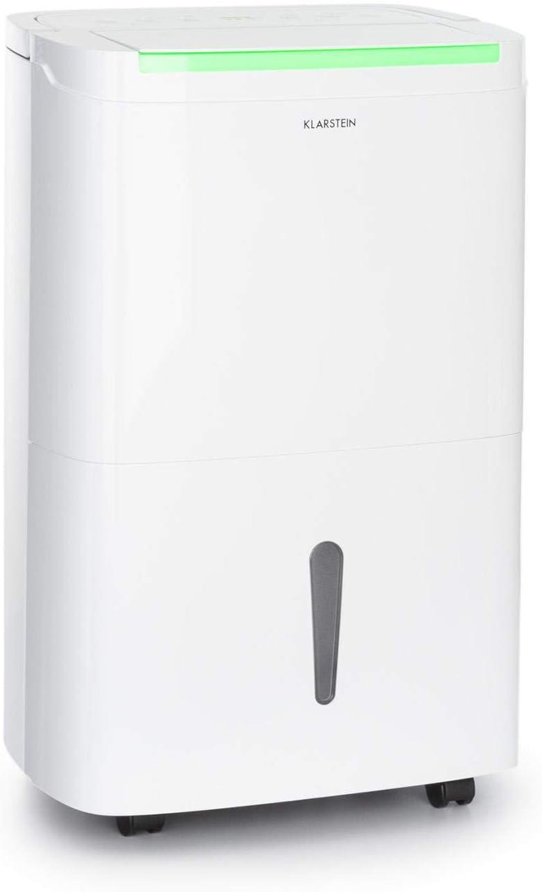 KLARSTEIN DryFy Connect - Deshumidificador de Aire, Humedad deseada Regulable, Función oscilación, WiFi, Filtro de carbón Activo, 230 m³/h, 25-30 m², Depósito Agua 4 L, Rendimiento 30 L/día, Blanco