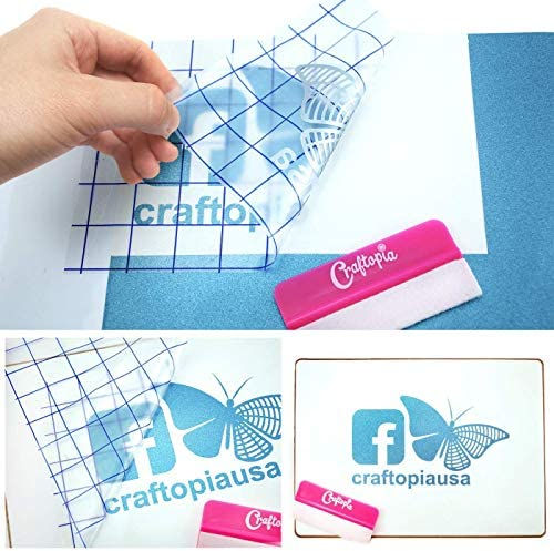 Craftopia Transfer Tape 12x12 Clear Vinyl Tape roll with Blue Alignment Grid Application Tape