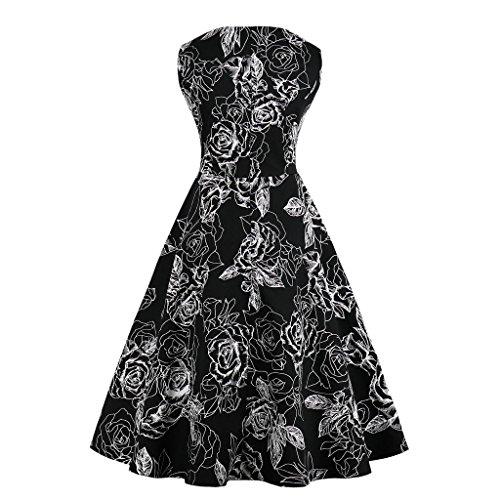 con Banquete GAESHOW Estilo con de Hepburn Vestido años Vestido Estampado de los Cuello 50 Novia para Retro en Mujer de Floral Negro1 de Noche V Plisado qn8H7rqR