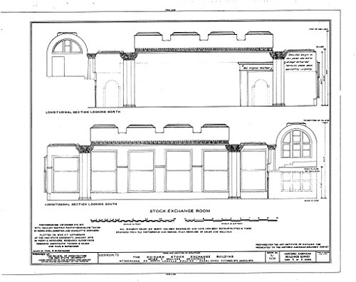 Bank Lasalle Chicago (historic pictoric Blueprint Diagram HABS ILL,16-CHIG,36- (sheet 5 of 5) - Chicago Stock Exchange Building, 30 North LaSalle Street, Chicago, Cook County, IL 30in x 24in)