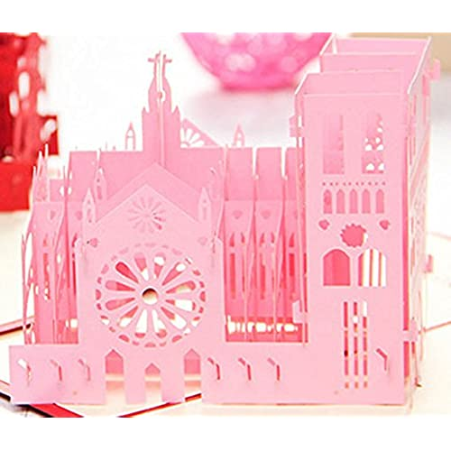 MADE4U Notre Dame de Paris Kirigami Papercraft 3D Pop Up Card Anniversary Baby Birthday Easter Halloween Mother's Sales