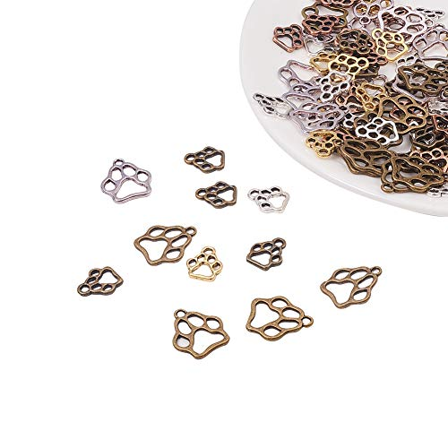 - PandaHall Elite About 120 Pcs Tibetan Style Alloy Dog Paw Pendant Charms 6 Styles for Bracelet Necklace Jewelry Making 4 Colors