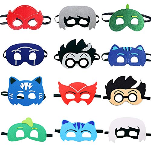 TEEHOME Cartoon Hero Masks Party Favors for Kid (12 Packs) with All Characters Catboy/Owlette/Gekko/Romeo/Night Ninja/Luna Girl - Birthday Party Masks for Children ()