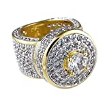 Niv's Bling – Men's 18K Gold Plated Cubic Zirconia Cluster Ring – Iced Out CZ Crystal Micropave Hip Hop Ring Men, Size 6