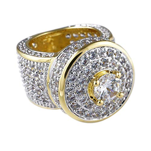 Niv's Bling – Men's 18K Gold Plated Cubic Zirconia Cluster Ring – Iced Out CZ Crystal Micropave Hip Hop Ring Men, Size 7 ()
