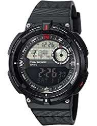 Casio Mens Twin Sensor Quartz Resin Casual Watch, Color:Black (Model: SGW-600H-1BCF)