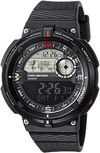 Casio Men's 'Twin Sensor' Quartz Resin Casual Watch, Color:Black (Model: SGW-600H-1BCF)