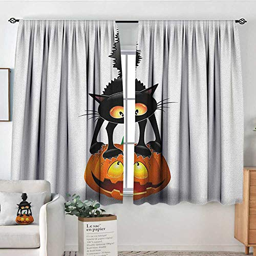 (Theresa Dewey Curtain Panels,Set of 2 Halloween,Black Cat on Pumpkin Drawing Spooky Cartoon Characters Halloween Humor Art, Orange Black,Modern Farmhouse Country Curtains)