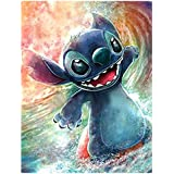20x14Stitch and Angel DIY 5D Diamond Painting by Numbers Kits DIY 5D Diamond Canvas Painting by Number /Lilo and Stitch Full Drill Crystal Rhinestone Diamond Embroidery Paintings Disney /Lilo Stitch
