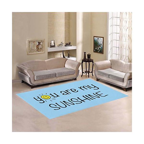 JC-Dress Area Rug You Are My Sunshine Blue Modern Carpet 7'x5′