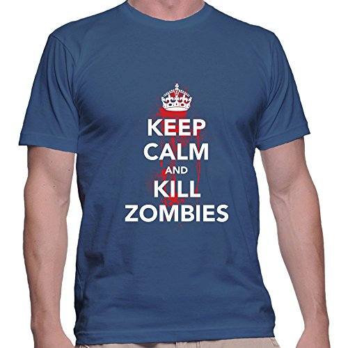 GullPrint Men's Halloween Keep Calm And Kill Zombies T Shirt X-Large Blue