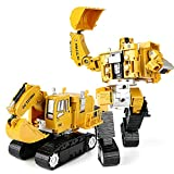 Mini Excavator Toy Bucket Wheel Excavator Digger Toys Backhoe Bulldozer Crane Tanker Truck Transformers Toys for Kids by Magical Imaginary (excavator)