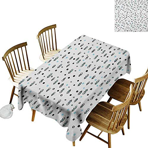 DONEECKL Feather dust-Proof Tablecloth Daily use Stylish Modern Arrow Feather Icons with Soft Toned Little Spots Dots Design Black Blue White W60 xL84