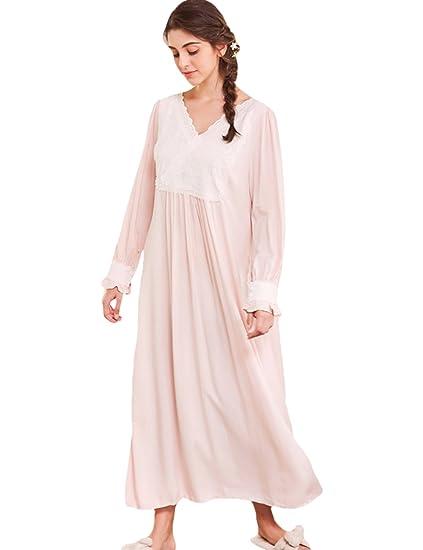 AIKOSHA Womens Retro Victorian Style Full Flare Sleeve V-Neck Loose Maxi Cotton  Nightdress  Amazon.co.uk  Clothing 5f17d8e6f