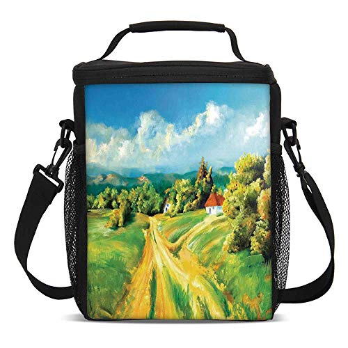Rustic Fashionable Lunch Bag,Barren Path to Small Village Plenty of Plants and Trees Oil Painting Image for Travel Picnic,One - Village Mens Dc
