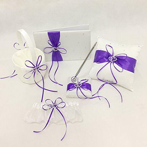 Wedding Flower Girl Basket Rings For Ring Bearer Pillow Garter Guest Book Pen Wedding Set Decoration Ribbon Ceremony Party Favors For Guests (Double Heart Purple)