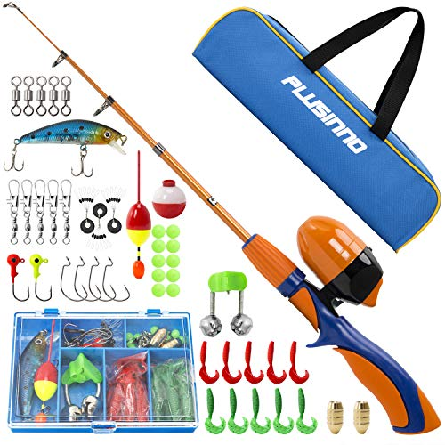 PLUSINNO Kids Fishing Pole,Portable Telescopic Fishing Rod and Reel Full Kits, Spincast Youth Fishing Pole Fishing Gear for Kids, Boys from PLUSINNO