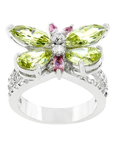Genuine Rhodium Plated Butterfly Ring with Pink Peridot Green and Clear Cubic Zirconia Size (Black Butterfly Ring)