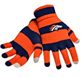 Official NFL Football Licensed Knit Stripe Glove with Texting Tips, One Size, DENVER BRONCOS