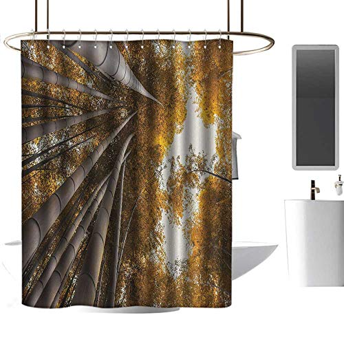coolteey Shower Curtains Brown Grey Bamboo,Bottom to Top