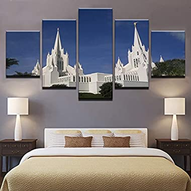 YUGUO 5 Canvas Prints Canvas Pictures Home Decor Wall Art 5 Pieces Mormon Temple Paintings Living Room Hd Prints Church