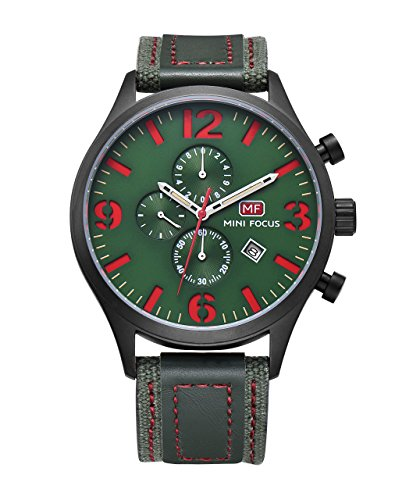 (Olive Green and Red Large Dial Watch Men'S Nice Cool Unique Trendy Novel Nylon and Frosted Leather Black Belt Quartz Watch Three Sub Dials Multifunction Calendar Date Window)