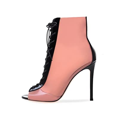 Amy Q Women s Peep Toe Lace up High Heel Sandals Pink Latex Booties Blush  PVC and da8d3f4189