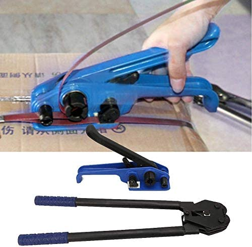 JALAL Strapping Packing Machine, 2Pcs Blue Manual Steel Strap Tensioner Crimper Belts Strapping Banding Tool Packing Machine