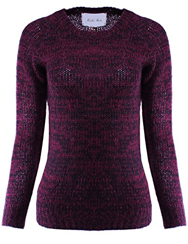 Raglan Long Sleeve Two Tone Knit Sweater Burgundy Black L Size