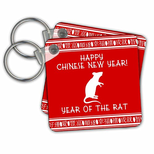 InspirationzStore Occasions - Happy Chinese New Year - Year of the Rat zodiac sign red and white - Key Chains - set of 2 Key Chains (kc_202124_1) (Rat New Chinese Year)