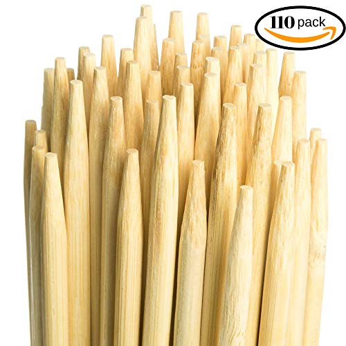 (Marshmallow Smores Roasting Bamboo Sticks| 110-Pack| Extra Long & Safe For Kids Design-36 Inch Long, 5mm Thick| Wooden, Disposable & Biodegradable Skewers| Outdoor BBQ/Firepit, Hot Dogs, Kebab)