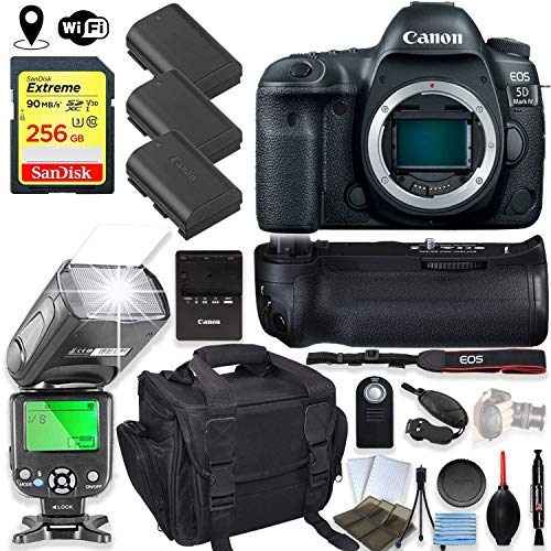 (Canon EOS 5D Mark IV DSLR Camera Body Only Kit with 256GB Sandisk Memory, TTL Speedlight Flash (Good Up-to 180 Feet), Pro Power Grip + Holiday Special Bundle)