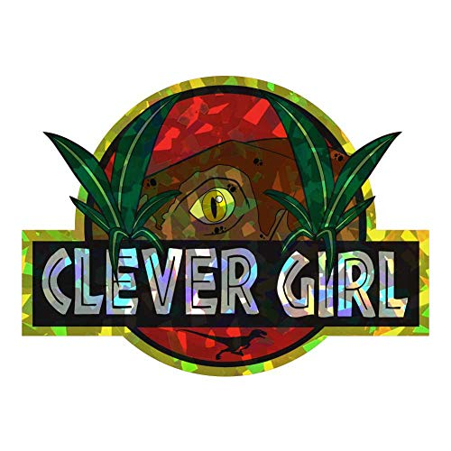 Dark Spark Decals Clever Girl Raptor Scene Movie Quote - 4 Inch Full Color Retro Holographic Vinyl Decal for Indoor or Outdoor use