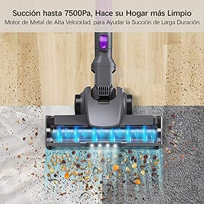 Housmile Aspirador sin Cable 7500Pa,Aspirador Escoba 2 en 1 con 2 ...