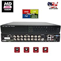 Evertech HD 1080N 8 / 16 Channel 4in1 AHD/ CVI/ TVI Analog High Definition HDMI Cluod Security Camera DVR System with Alarm (16 Channel (2))