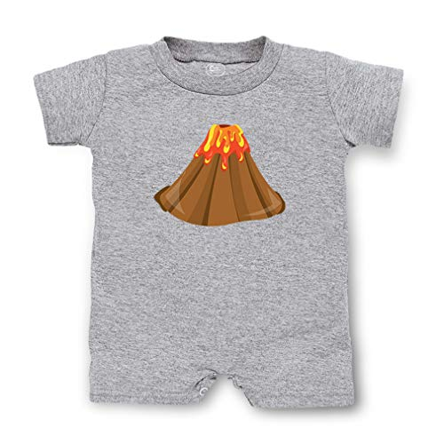 Volcano Short Sleeve Taped Neck Boys-Girls Cotton Infant Romper Jersey Tee - Oxford Gray, 12 Months (Oxford Volcano)