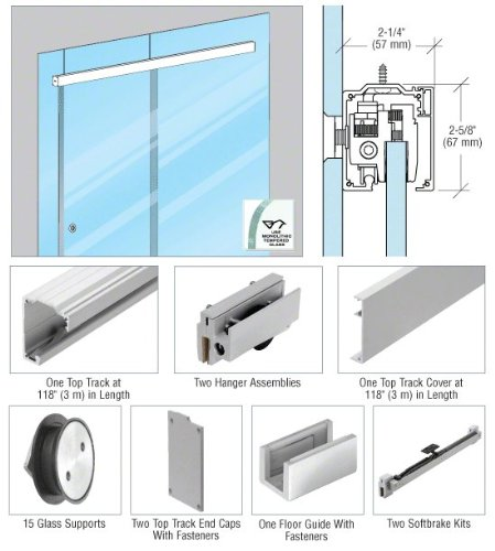 CRL285 Series Brushed Satin Anodized Glass Mount Single Slider Kit for 1/2'' - 118''