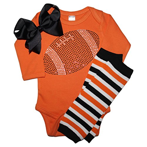 FanGarb Baby Girls Black Rhinestone Football Long Sleeve Outfit with Leg wamers & Bow (6-12 mo, Orange)