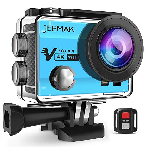 JEEMAK 4K Action Cam 16MP WiFi Waterproof Sports Camera 170° Ultra Wide Angle Len with Remote Control 2 Pcs Rechargeable Batteries and Portable Package Blue