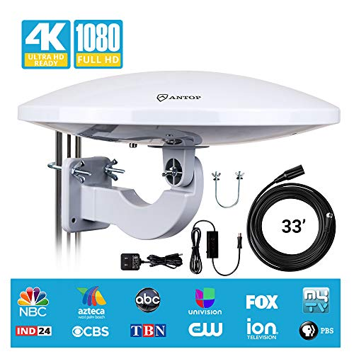 - Outdoor HDTV Antenna - Antop Omni-Directional 360 Degree Reception Antenna Outdoor, Indoor, Attic, RV Used, 65 Miles Range Amplifier Booster 4G LTE Filter, DIY Handy Install 【Mid-Year Updated Version】