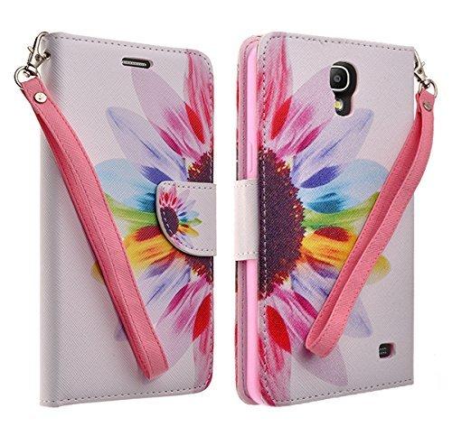 Samsung Galaxy Mega 2 Case - Magnetic Leather Flip Wallet Pouch Samsung Galaxy Mega 2 Wallet Case, Slim Folio Case with Kickstand, 2 Credit Card Slot Wallet Pouch (SUN FLOWER WALLET POUCH) ()