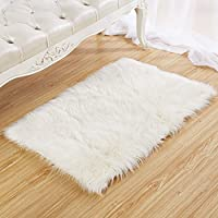 Chanasya Super Soft Faux Fur Fake Sheepskin White Sofa Couch Stool Casper Vanity Chair Cover Rug/Solid Shag Area Rugs for Living Bedroom Floor - Off White 2ftx3ft (Rectangular)
