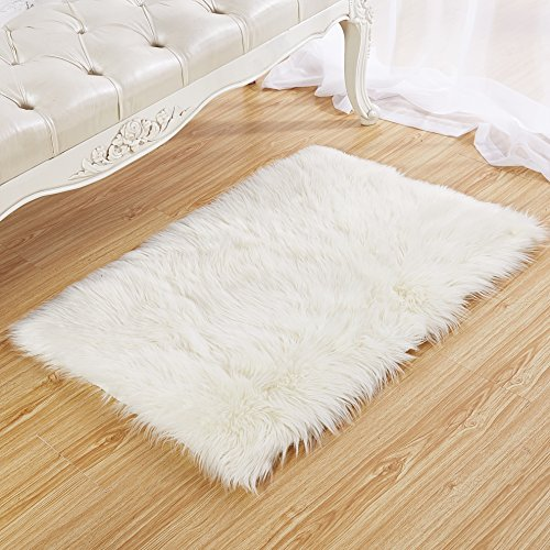 Faux Fur Fake Sheepskin White Sofa Couch Stool Casper Vanity Chair Cover Rug / Solid Shag Area Rugs For Living Bedroom Floor - Off White 2ftx3ft (Rectangular) (Woven Photo Throw)