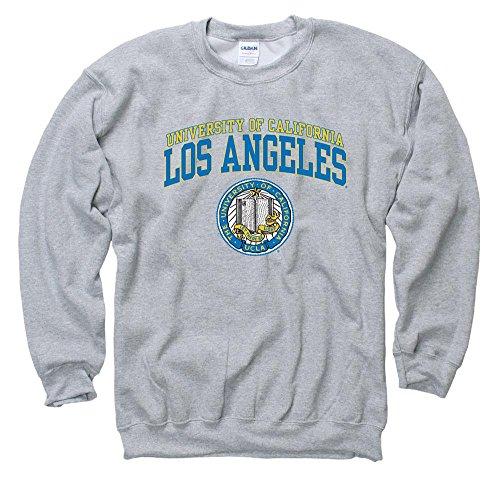 Shop College Wear UCLA Double Arch Men's Crew- Neck Sweatshirt-Gray Double Arch Crew Sweatshirt