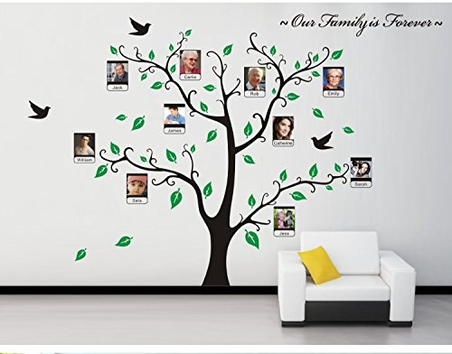Family Tree Wallpaper - Loving You Family Photo Frame Picture Frame Tree Wall Sticker with Flying Bird Wall Decor Wall Decal Wall Sticker Wallpaper for Living Room or Setting Room Decoration
